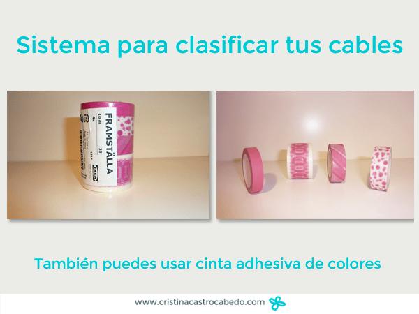 usa cinta adhesiva de colores para ordenar los cables