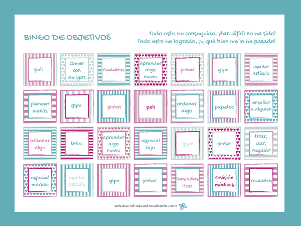 Bingo de Objetivos ¡para lograrlo jugando!