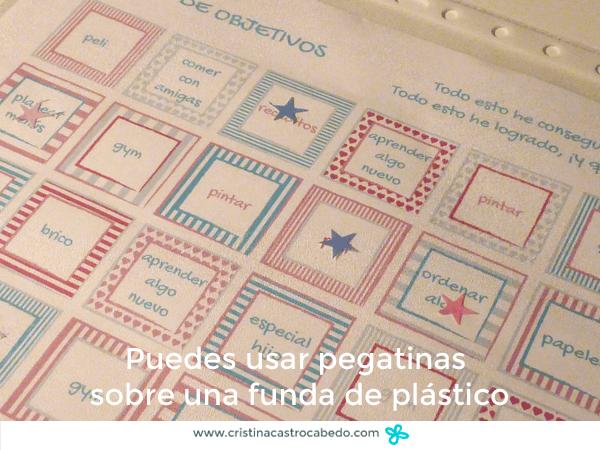 Detalle bingo de objetivos en funda de plástico