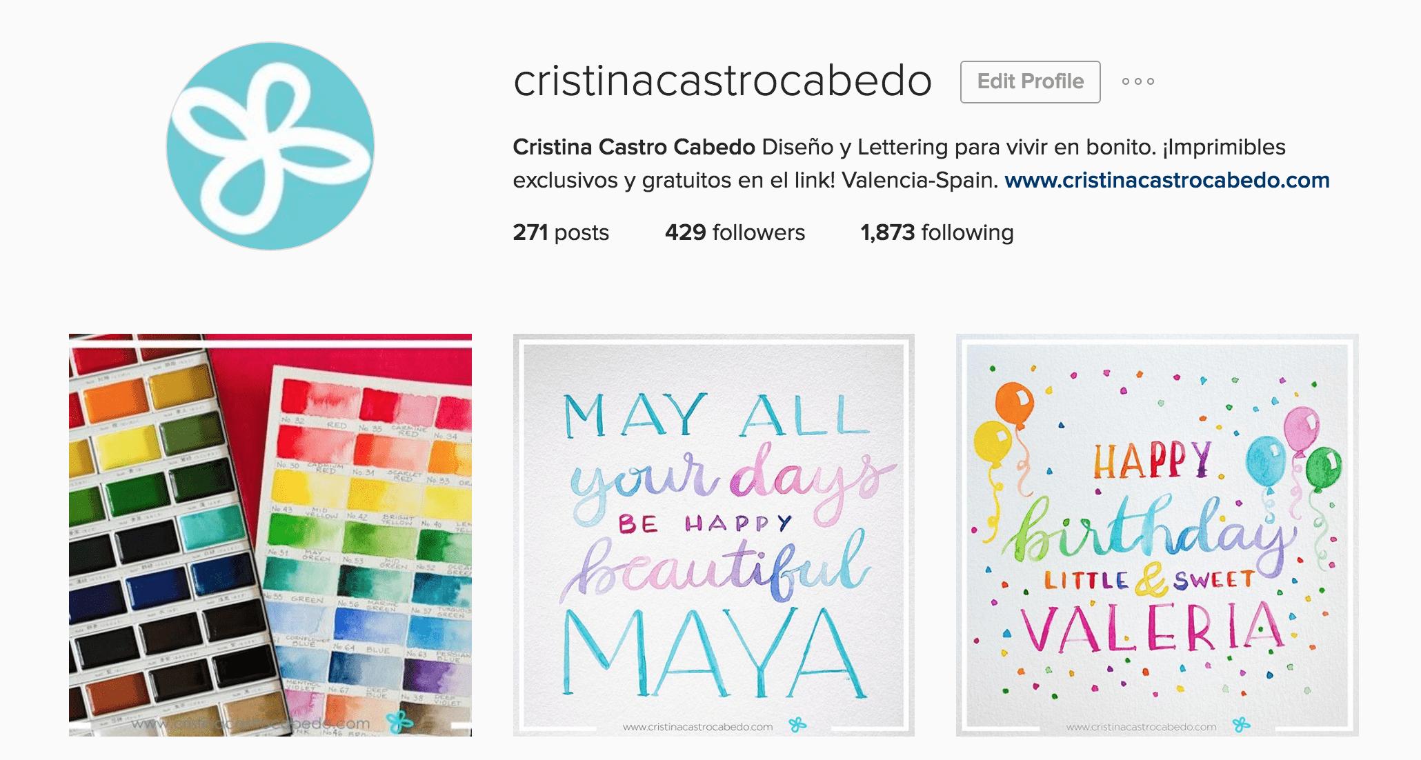 Mi cuenta en instagram donde publico ejercicios de lettering