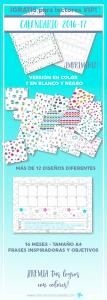 Nuevo #calendario #escolar #imprimible 2016-2017 de 16 meses. En tamaño A4 para aprovechar todo el espacio y para tenerlo en la mesa. Con espacio para anotar todas tus tareas. Con sistema de colores para ir premiando tus logros, cada vez que consigas un nuevo objetivo. Más de 12 diseños diferentes y exclusivos. Y #frases #inspiradoras para que empieces cada día de forma positiva. Descárgalo gratis durante tiempo limitado en http://www.cristinacastrocabedo.com