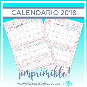 Calendario imprimible 2018 - Cristel Design