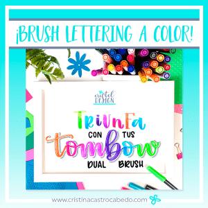 aprende brush lettering online a todo color con los rotuladores tombow dual brush, y aprende técnicas y efectos de volumen, degradados, sombras, reflejos, etc.