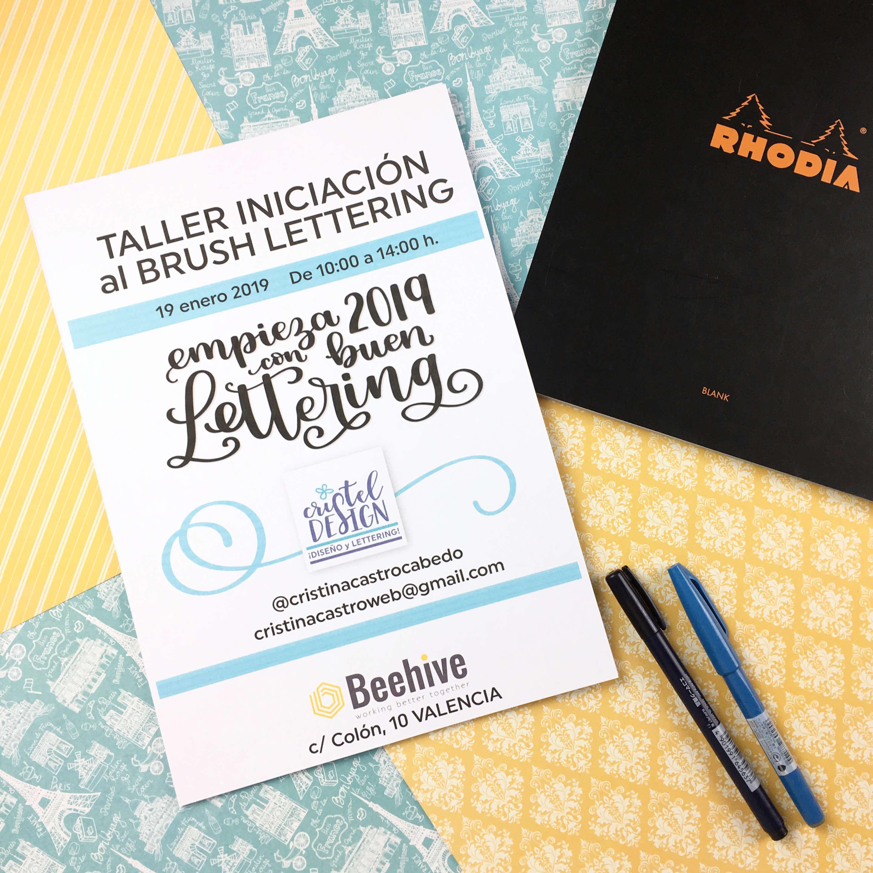 taller presencial brush lettering en Valencia - Cristel Design