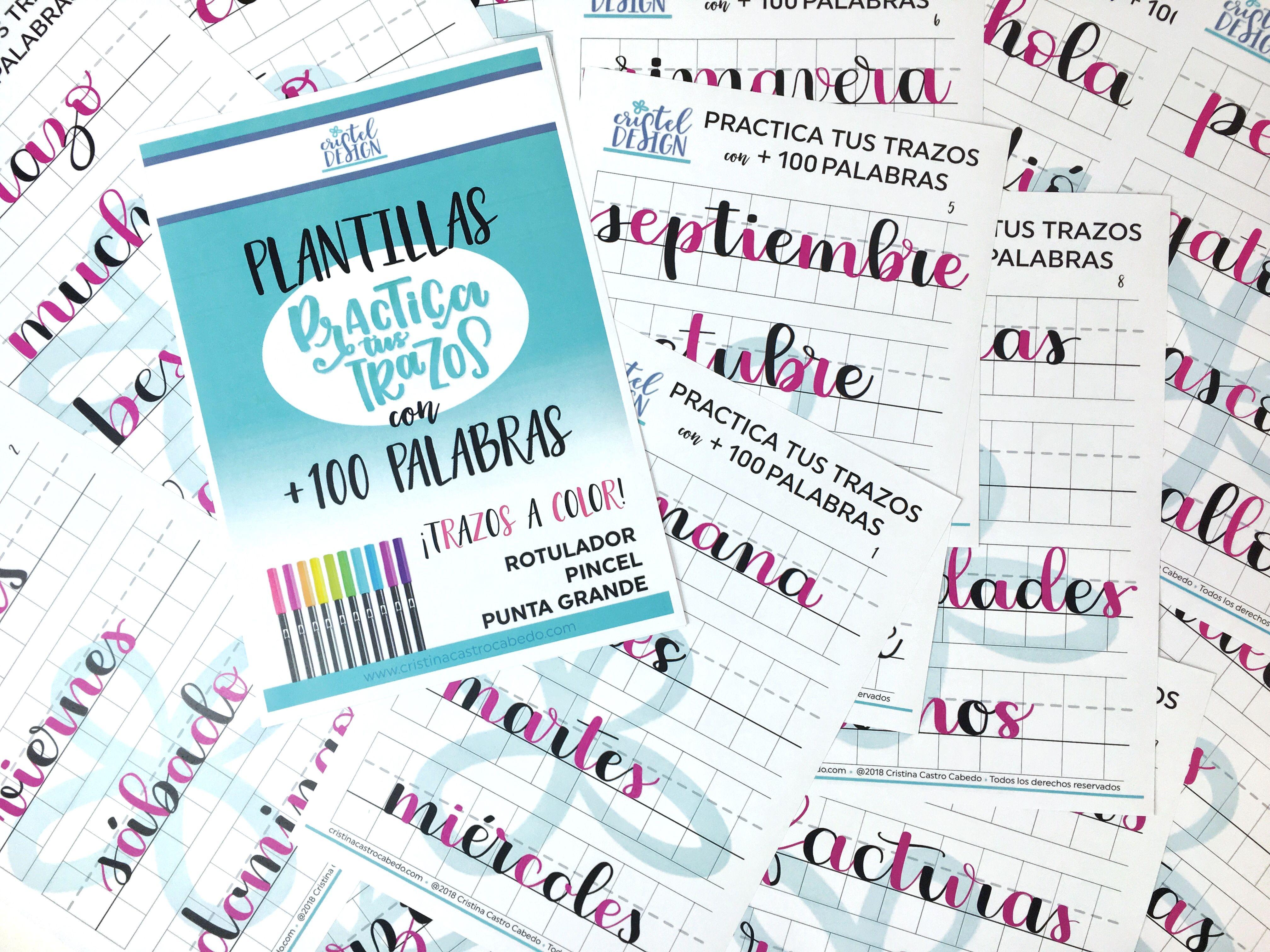 plantillas con palabras para practicar enlaces de brush lettering
