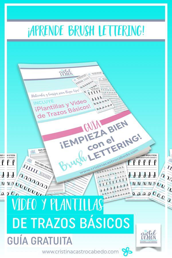 Plantillas de lettering gratis incluidas en la guía, con los trazos básicos del brush lettering