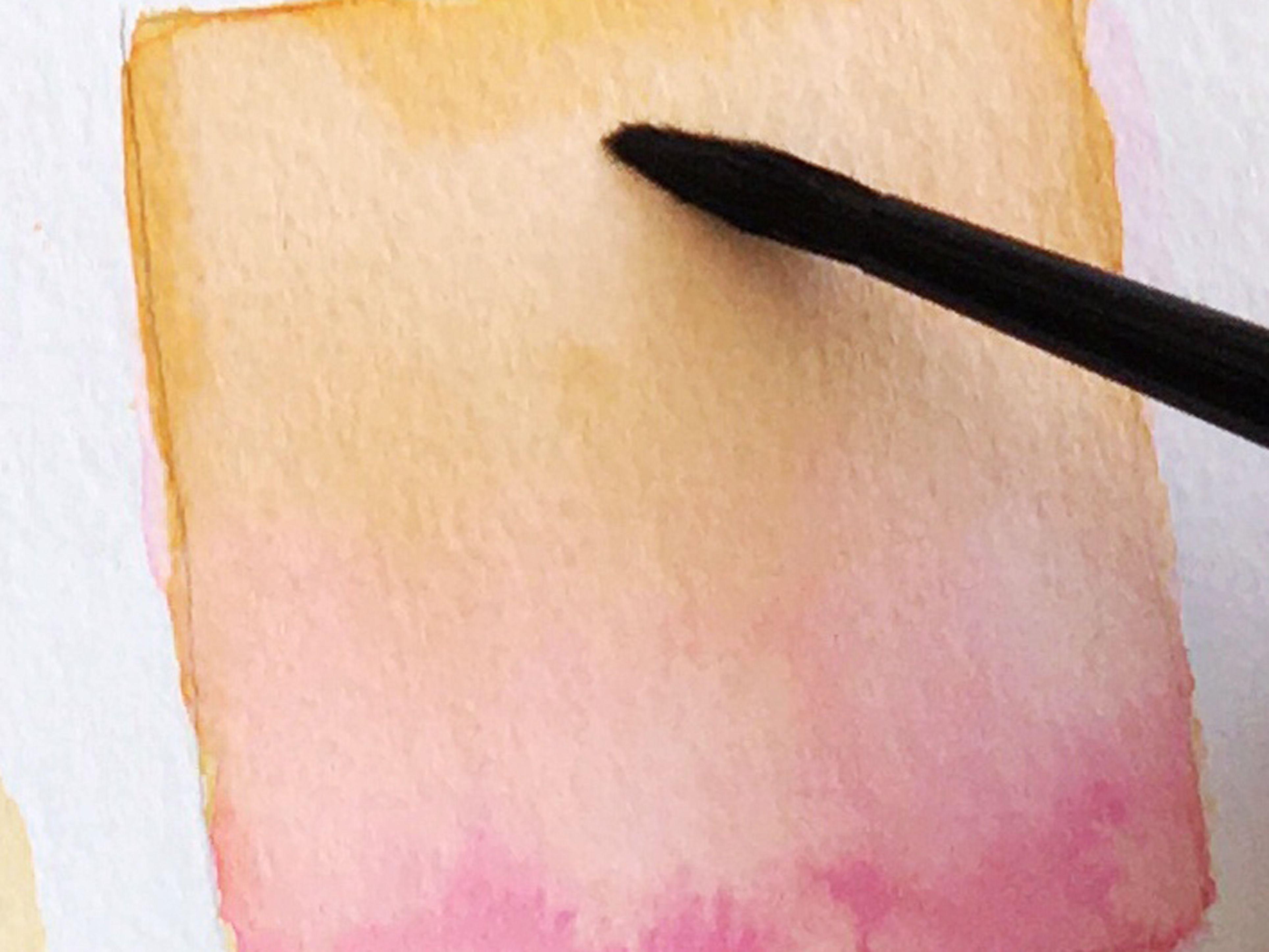 Recuadro con veladuras de acuarela en dos colores degradados