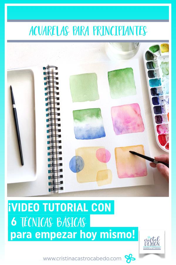 6 técnicas básicas de acuarela sobre un bloc de pintura