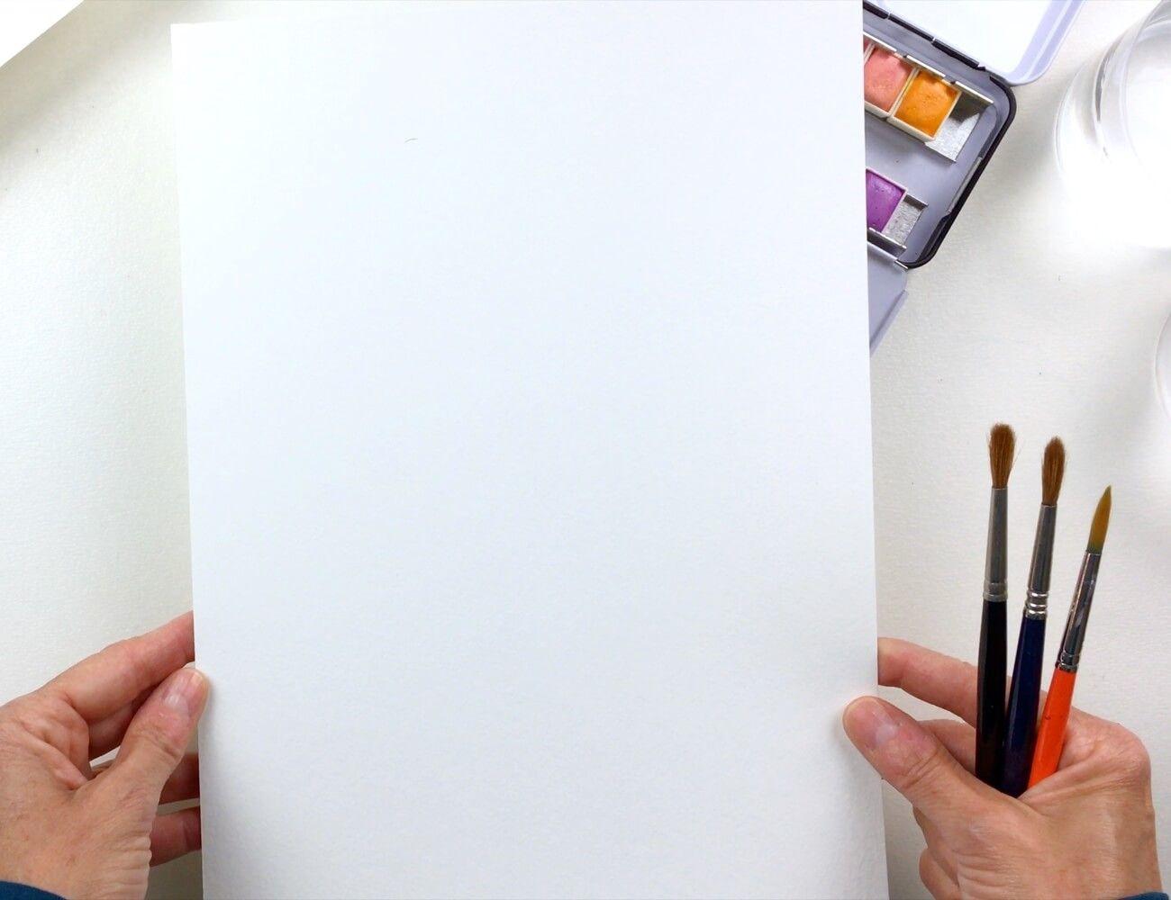 Elige el tamaño del papel de acuarela para hacer la lámina