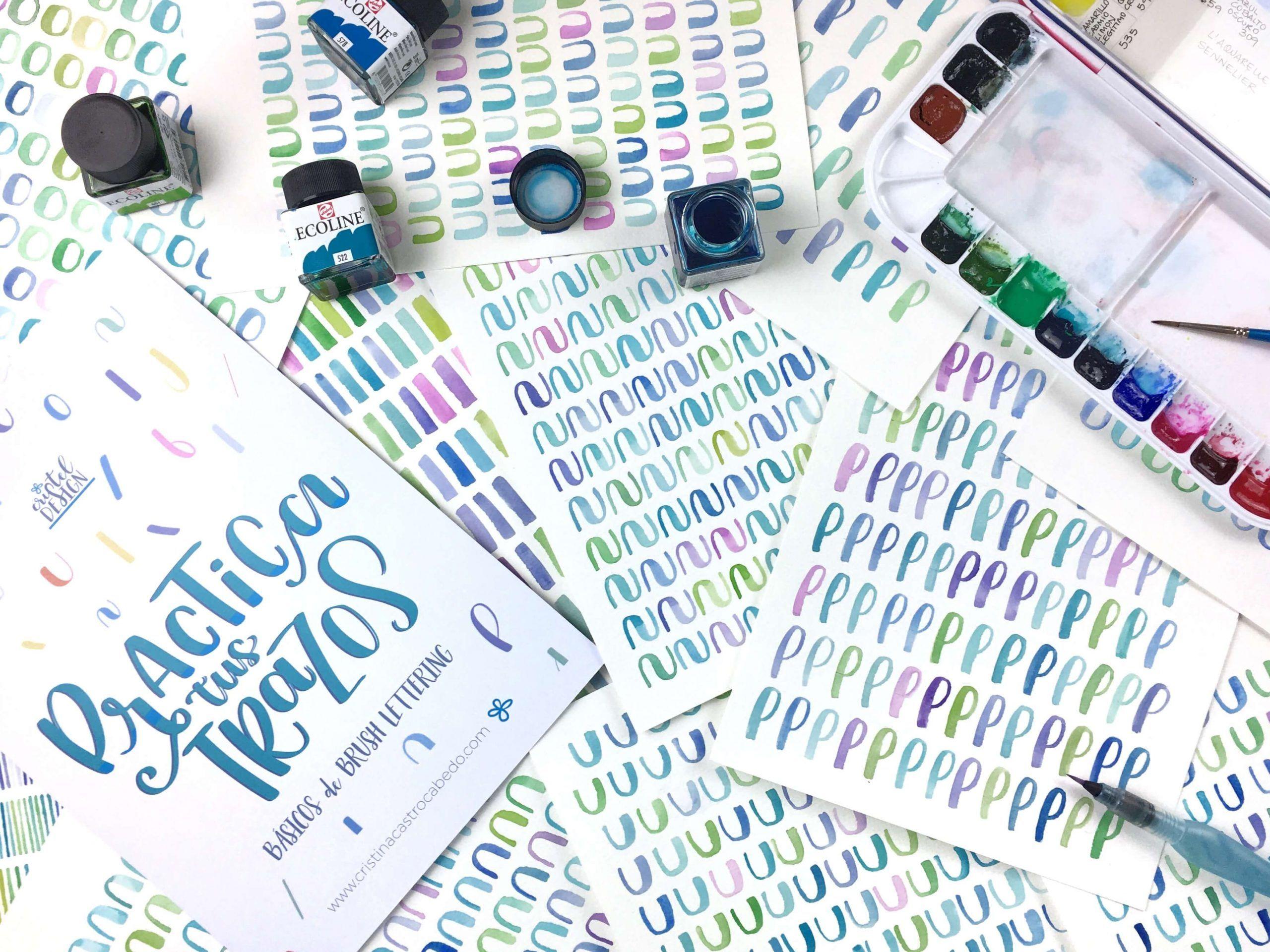 Practica brush lettering con acuarelas