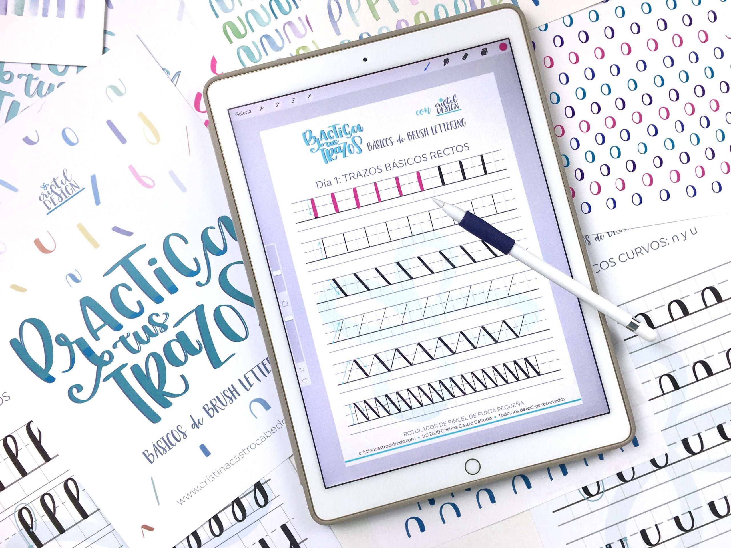 Plantillas en formato de Procreate para practicar brush lettering en el ipad