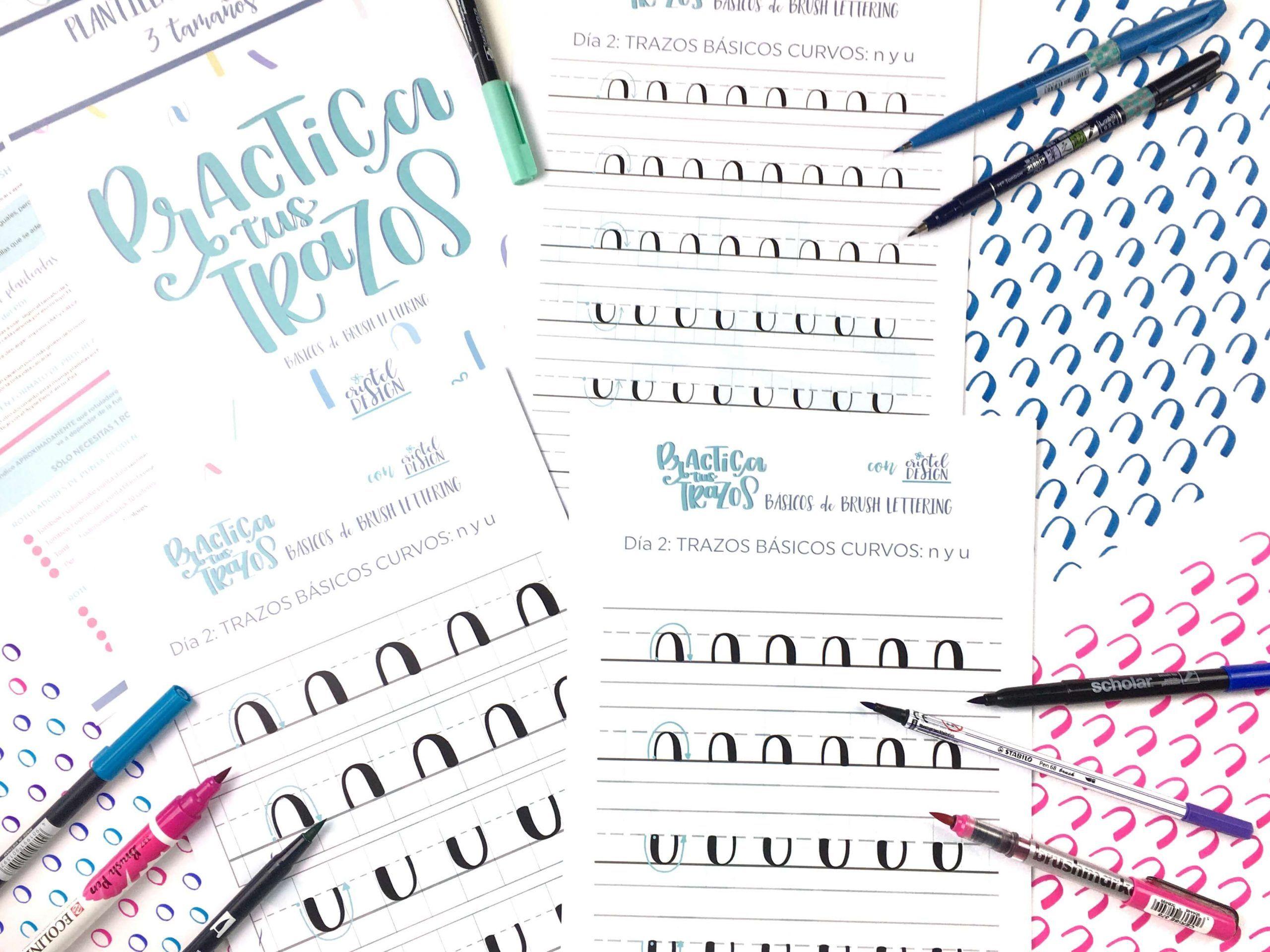 Vídeos y Plantillas en 3 tamaños para aprender los trazos básicos del brush lettering