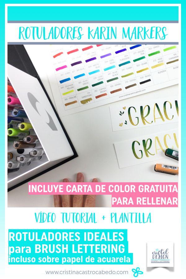 Carta de colores de los rotuladores Karin Markers