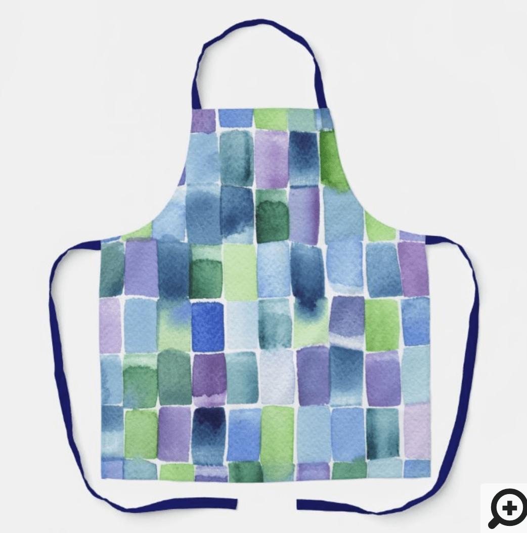 delantal-azul-verde-acuarela-cristel-design-zazzle
