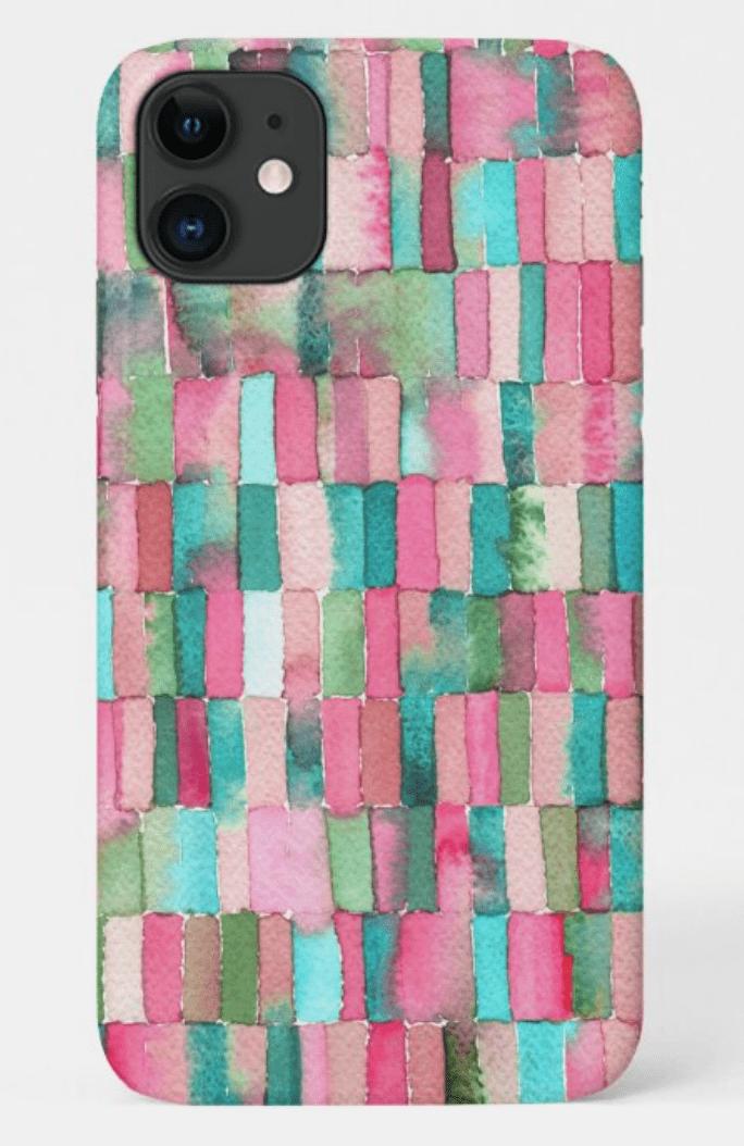 funda-iphone-12-max-acuarela-rosa-verde-cristel-design-zazzle