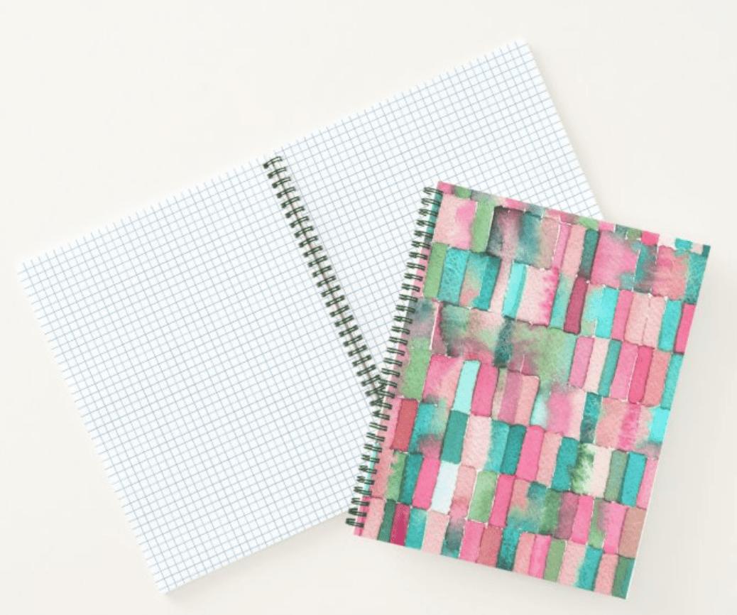 libreta-a4-verde-rosa-fuchsia-acuarela-cristel-design-zazzle