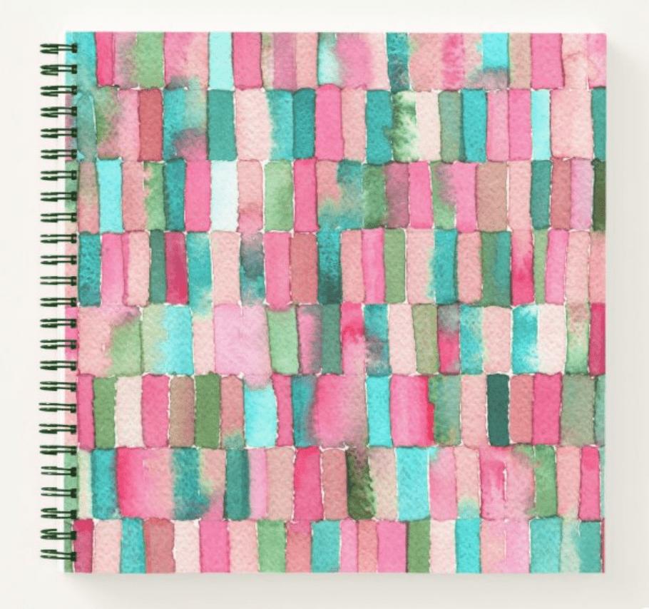 libreta-acuarelas-rosas-verde-fuchsia-cristel-design-zazzle