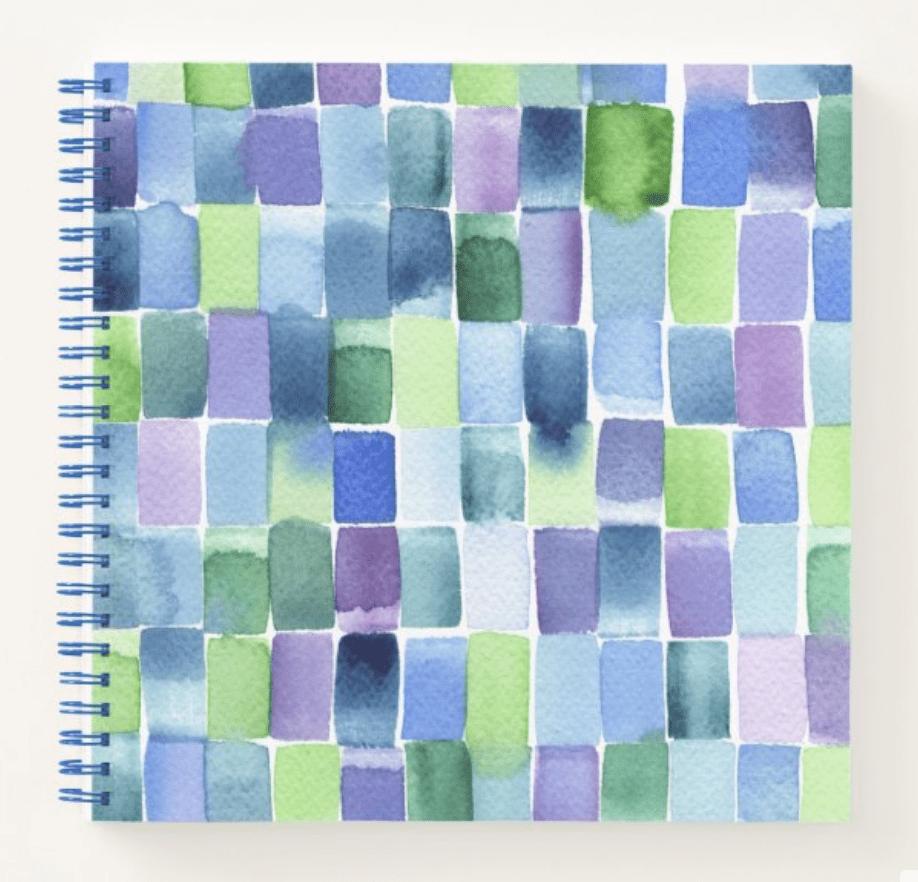 libreta-cuadrada-azules-verdes-acuarela-gusanillo-cristel-design-zazzle